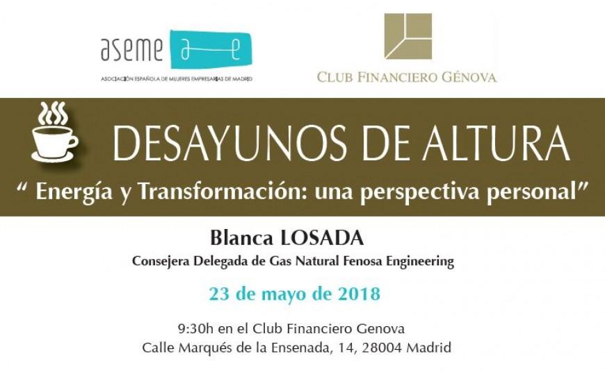 """ASEME organiza su primer """"Desayuno de Altura"""" con Blanca Losada"""
