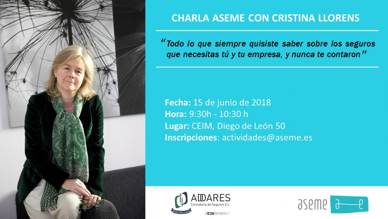 Charla ASEME con Cristina Llorens, experta en seguros de empresas y autónomos
