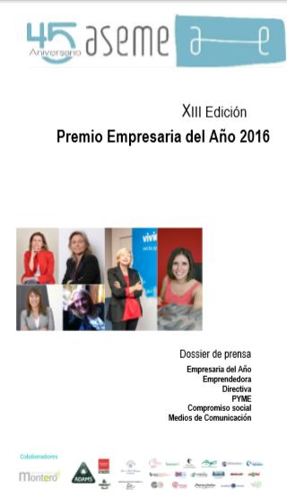 Portada del dossier Premio Mujer Empresaria 2016